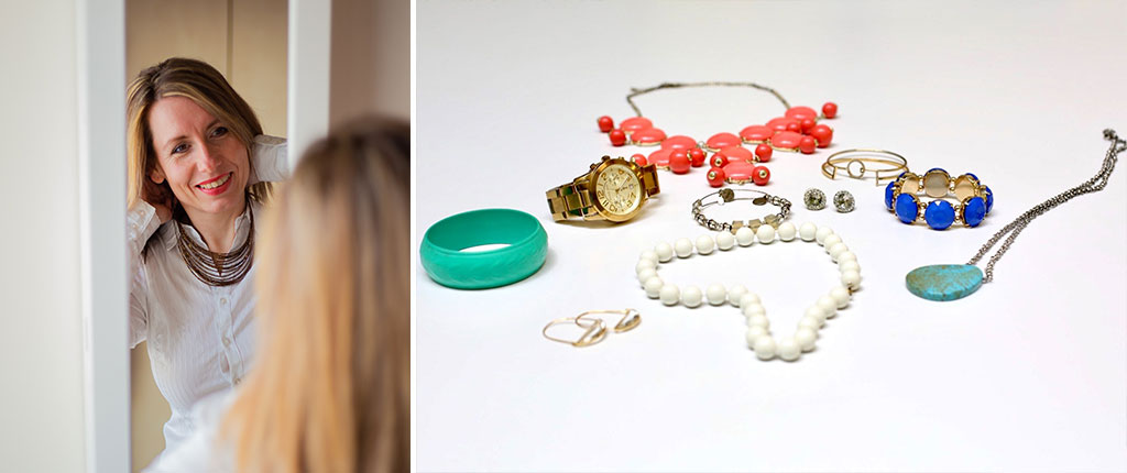 Photo of jewelry collected for Dress for Success Twin Cites and photo of woman putting on a necklace